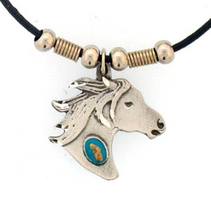 "Leather Cord Necklace - Horse Head - Siskiyou's pendants are on a beaded 24"" adjustable leather cord with a detailed pendant. Check out the entire line of Zodiac sign  necklaces!"