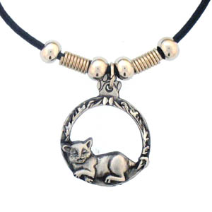 "Leather Cord Necklace - Cat in Circle - Siskiyou's pendants are on a beaded 24"" adjustable leather cord with a detailed pendant. Check out the entire line of Zodiac sign  necklaces!"