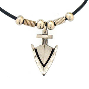 "Leather Cord Necklace - Arrowhead - Siskiyou's pendants are on a beaded 24"" adjustable leather cord with a detailed pendant. Check out the entire line of Zodiac sign  necklaces!"