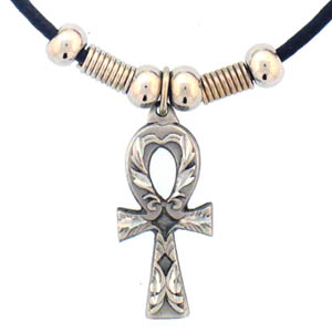 "Leather Cord Necklace - Ankh - Siskiyou's pendants are on a beaded 24"" adjustable leather cord with a detailed pendant. Check out the entire line of Zodiac sign  necklaces!"