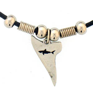 "Leather Cord Necklace - Shark Tooth - Siskiyou's pendants are on a beaded 24"" adjustable leather cord with a detailed pendant. Check out the entire line of Zodiac sign  necklaces!"