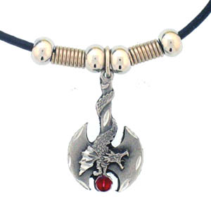 "Battle Ax with Dragon Adjustable Cord Necklace - ""The fully cast metal pendant is carved in the shape of a battle ax with a dragon running down the hilt with exceptional detail. The pendant comes on a 28"""" adjustable cord necklace with beaded accents."""