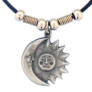 "Leather Cord Necklace - Sun and Moon - Siskiyou's pendants are on a beaded 24"" adjustable leather cord with a detailed pendant. Check out the entire line of Zodiac sign  necklaces!"