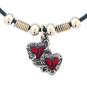 "Leather Cord Necklace - Double Heart - Siskiyou's pendants are on a beaded 24"" adjustable leather cord with a detailed pendant. Check out the entire line of Zodiac sign  necklaces!"