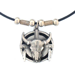 "Leather Cord Necklace - Buffalo & Shield - Siskiyou's pendants are on a beaded 24"" adjustable leather cord with a detailed pendant. Check out the entire line of Zodiac sign  necklaces!"