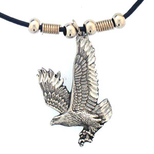 "Leather Cord Necklace - Free Form Eagle - Siskiyou's pendants are on a beaded 24"" adjustable leather cord with a detailed pendant. Check out the entire line of Zodiac sign  necklaces!"