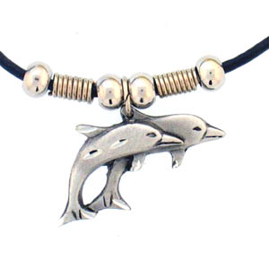 "Leather Cord Necklace - Double Dolphins - Siskiyou's pendants are on a beaded 24"" adjustable leather cord with a detailed pendant. Check out the entire line of Zodiac sign  necklaces!"