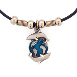 "Leather Cord Necklace - Dolphins & Earth - Siskiyou's pendants are on a beaded 24"" adjustable leather cord with a detailed pendant. Check out the entire line of Zodiac sign  necklaces!"
