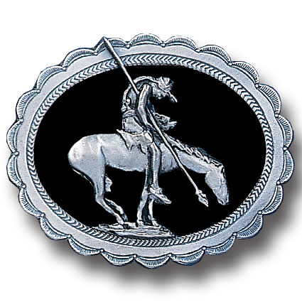 Belt Buckle - End of the Trail  - This finely sculpted and hand enameled belt buckle contains exceptional 3D detailing. Siskiyou's unique buckle designs often become collector's items and are unequaled with the best craftsmanship.