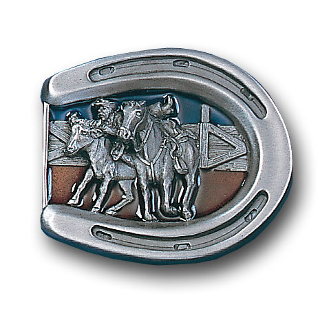 Belt Buckle - Bulldogging  - This finely sculpted and hand enameled belt buckle contains exceptional 3D detailing. Siskiyou's unique buckle designs often become collector's items and are unequaled with the best craftsmanship.