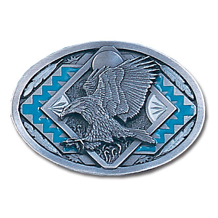Belt Buckle - Eagle Landing - This finely sculpted and hand enameled belt buckle contains exceptional 3D detailing. Siskiyou's unique buckle designs often become collector's items and are unequaled with the best craftsmanship.