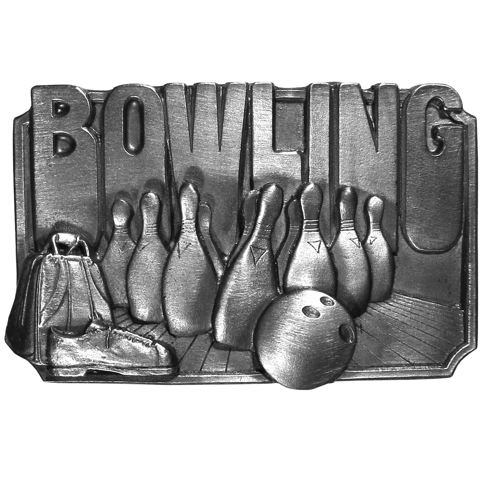 "Bowling Antiqued Belt Buckle - ""This belt buckle celebrates bowling!  It features the word, """"Bowling"""" in bold at the top, bowling pins and alley, a bowling ball, bowling shoes and a bowling bag.  On the back are the words, """"Bowling is a recreational sport enjoyed by millions of people of all ages.  It is best described in four words: it's a lot of fun!"""""""