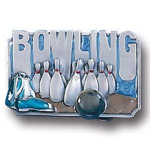 Belt Buckle - Bowling 3D - This finely sculpted and hand enameled belt buckle contains exceptional 3D detailing. Siskiyou's unique buckle designs often become collector's items and are unequaled with the best craftsmanship.