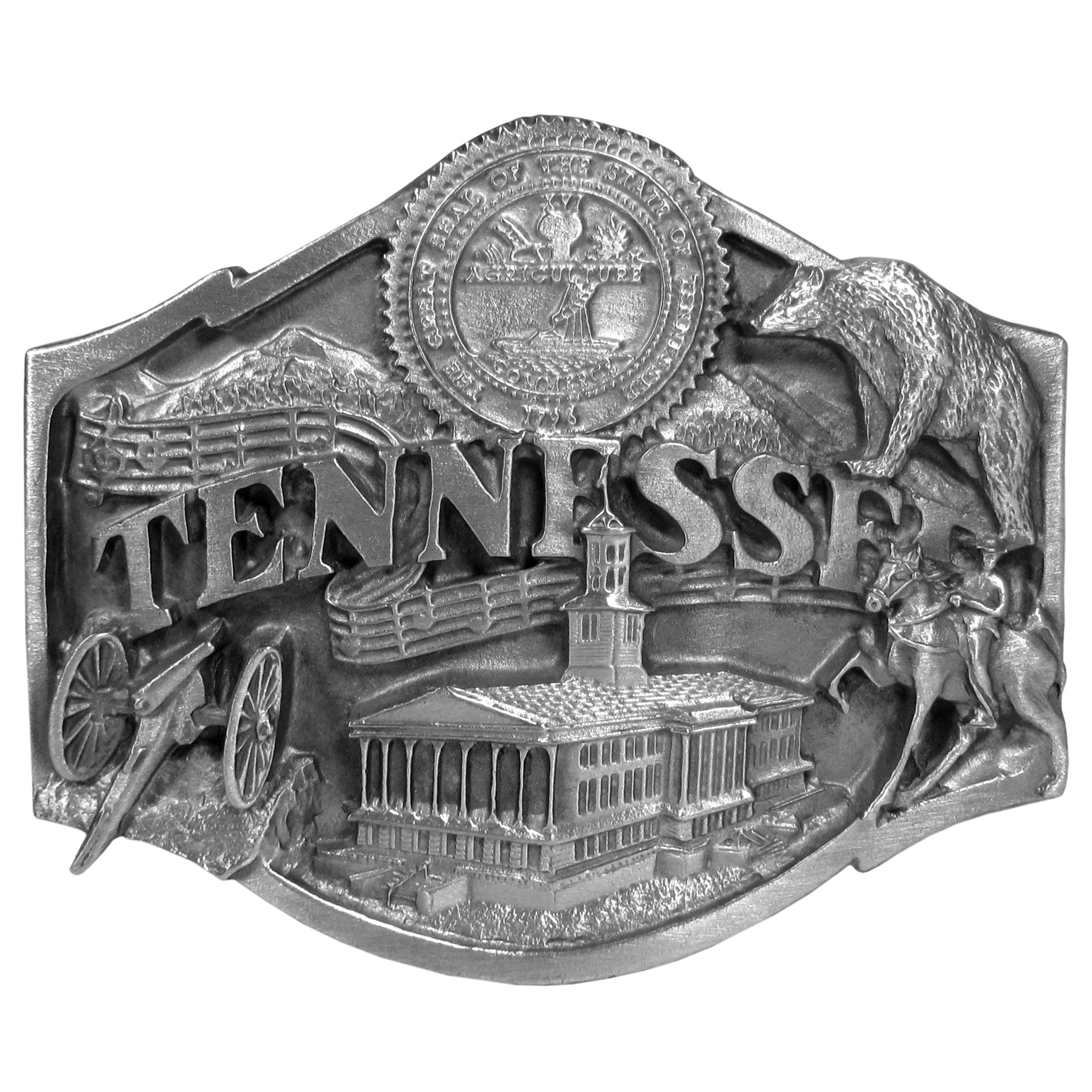 "Tennessee Antiqued Belt Buckle - ""This is a buckle dedicated to the state of Tennessee.  The buckle has images of the state seal, a cannon, a horse and rider, music notes, a black bear, the state capital building and the Smoky Mountains.  This exquisitely carved buckle is made of fully cast metal with a standard bale that fits up to 2"""" belts.  Siskiyou's unique buckle designs often become collector's items and are unequaled with the best craftsmanship.  Made in the USA."""