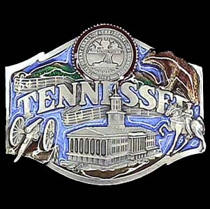 Belt Buckle - Tennessee  - This finely sculpted and hand enameled belt buckle contains exceptional 3D detailing. Siskiyou's unique buckle designs often become collector's items and are unequaled with the best craftsmanship.