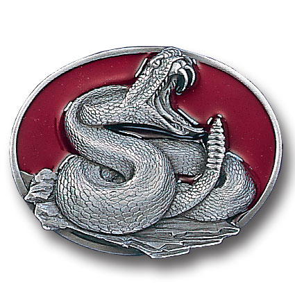 Belt Buckle - Coiled Snake - This finely sculpted and hand enameled belt buckle contains exceptional 3D detailing. Siskiyou's unique buckle designs often become collector's items and are unequaled with the best craftsmanship.