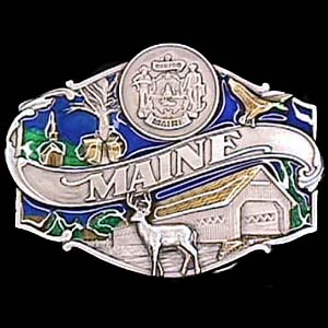 Belt Buckle - Maine split image - This finely sculpted and hand enameled belt buckle contains exceptional 3D detailing. Siskiyou's unique buckle designs often become collector's items and are unequaled with the best craftsmanship.