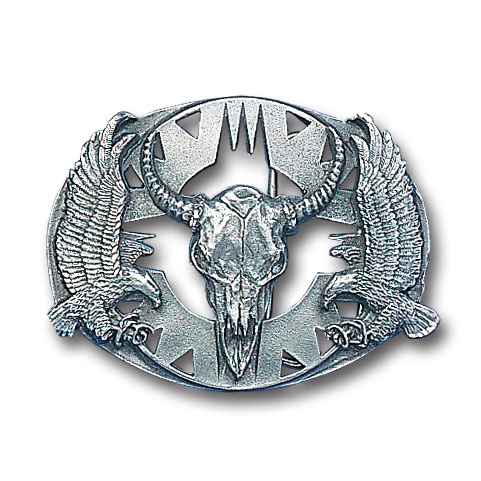 Belt Buckle - Buffalo Skull/Eagles (Diamond Cut) - This finely sculpted and diamond cut and cutout  belt buckle contains exceptional 3D detailing. Siskiyou's unique buckle designs often become collector's items and are unequaled with the best craftsmanship.