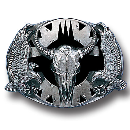 Belt Buckle - Buffalo Skull/Eagles (Diamond Cut) - This finely sculpted belt buckle contains exceptional 3D detailing and diamond cut accents. Siskiyou's unique buckle designs often become collector's items and are unequaled with the best craftsmanship.