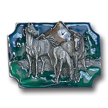 Belt Buckle - Horses Grazing - This finely sculpted and hand enameled belt buckle contains exceptional 3D detailing. Siskiyou's unique buckle designs often become collector's items and are unequaled with the best craftsmanship.
