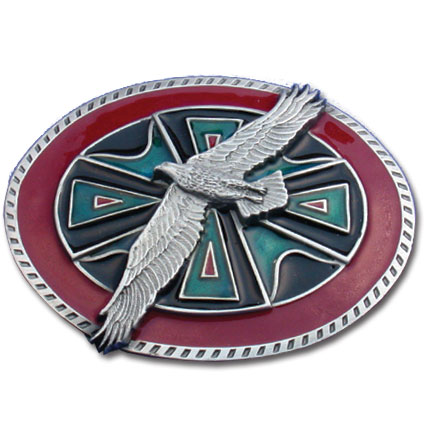 Belt Buckle - Eagle Belt Buckle - This finely sculpted and hand enameled belt buckle contains exceptional 3D detailing. Siskiyou's unique buckle designs often become collector's items and are unequaled with the best craftsmanship.