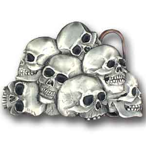 Belt Buckle - Skulls - Black - This finely sculpted and hand enameled belt buckle contains exceptional 3D detailing. Siskiyou's unique buckle designs often become collector's items and are unequaled with the best craftsmanship.