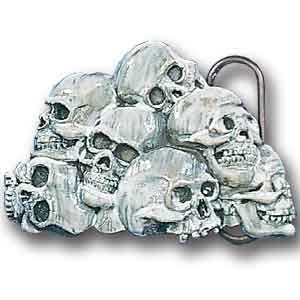 Belt Buckle - Skull Pile - This finely sculpted and hand enameled belt buckle contains exceptional 3D detailing. Siskiyou's unique buckle designs often become collector's items and are unequaled with the best craftsmanship.