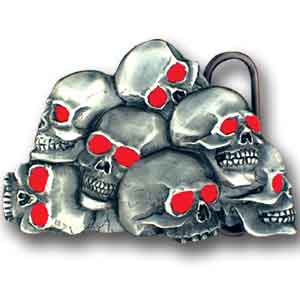 Belt Buckle - Skull - Red - This finely sculpted and hand enameled belt buckle contains exceptional 3D detailing. Siskiyou's unique buckle designs often become collector's items and are unequaled with the best craftsmanship.