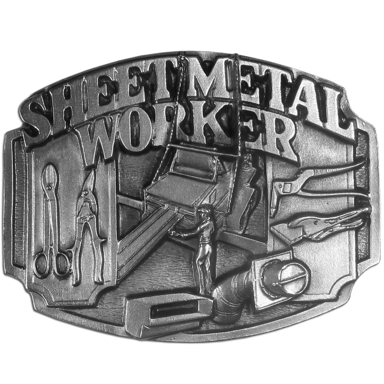 "Sheet Metal Worker Antiqued Belt Buckle - ""This belt buckle celebrates the sheet metal worker with """"Sheet Metal Worker"""" in bold surrounded by tools of the trade.  This exquisitely carved buckle is made of fully cast metal with a standard bale that fits up to 2"""" belts."""