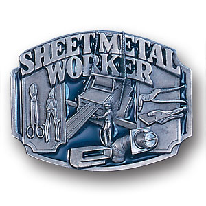 Belt Buckle - Sheet Metal Worker - This finely sculpted and hand enameled belt buckle contains exceptional 3D detailing. Siskiyou's unique buckle designs often become collector's items and are unequaled with the best craftsmanship.