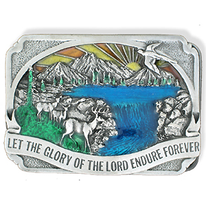 Belt Buckle - Glory of the Lord - This finely sculpted and hand enameled belt buckle contains exceptional 3D detailing. Siskiyou's unique buckle designs often become collector's items and are unequaled with the best craftsmanship.
