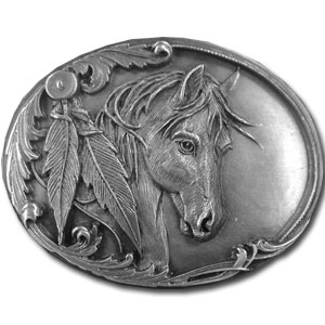 Belt Buckle - Horse Head and Feather - Finely sculpted and intricately designed belt buckle. Our unique designs often become collector's items. Check out our entire line of  belt buckles.