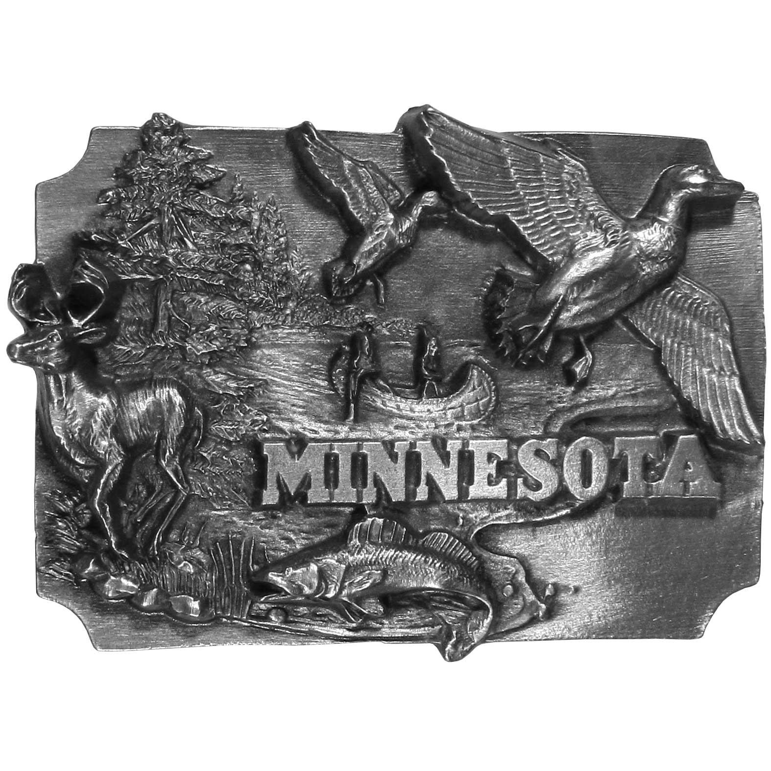 "Minnesota Antiqued Belt Buckle - ""This belt buckle celebrates Minnesota!  There are two ducks flying in the sky, two people in a canoe on a lake, a fish, a deer and trees.  On the back are the words, """"Minnesota became the 32nd state on May 11, 1858.  The state flower is the Lady's Slipper.  The state tree is the Norway Pine and the state bird is the Common Loon."""""""