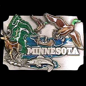 Belt Buckle - Minnesota  - This finely sculpted and hand enameled belt buckle contains exceptional 3D detailing. Siskiyou's unique buckle designs often become collector's items and are unequaled with the best craftsmanship.
