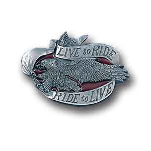 Belt Buckle - Live to Ride  - This finely sculpted and hand enameled belt buckle contains exceptional 3D detailing. Siskiyou's unique buckle designs often become collector's items and are unequaled with the best craftsmanship.