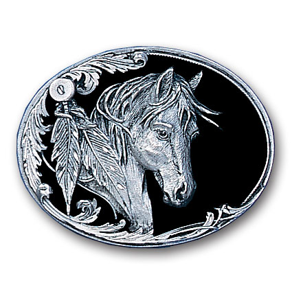 Belt Buckle - Horse head with Feathers - This finely sculpted belt buckle contains exceptional 3D detailing and diamond cut accents. Siskiyou's unique buckle designs often become collector's items and are unequaled with the best craftsmanship.