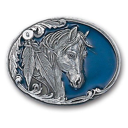 Belt Buckle - Horse Head and Feather - This finely sculpted and hand enameled belt buckle contains exceptional 3D detailing. Siskiyou's unique buckle designs often become collector's items and are unequaled with the best craftsmanship.