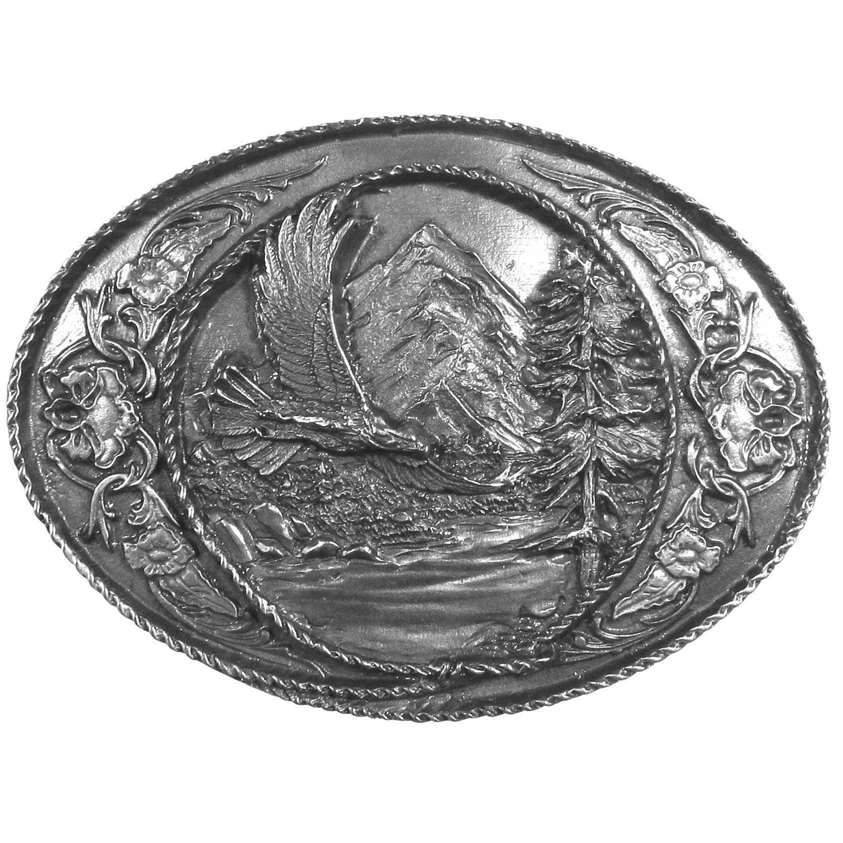 "Eagle Antiqued Belt Buckle - ""This belt buckle features an eagle soaring through the sky with a mountain, river and evergreen in the center of a lasso surrounded by Western design detail.  This exquisitely carved buckle is made of fully cast metal with a standard bale that fits up to 2"""" belts."""