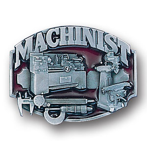 Belt Buckle - Machinist 3D - This finely sculpted and hand enameled belt buckle contains exceptional 3D detailing. Siskiyou's unique buckle designs often become collector's items and are unequaled with the best craftsmanship.