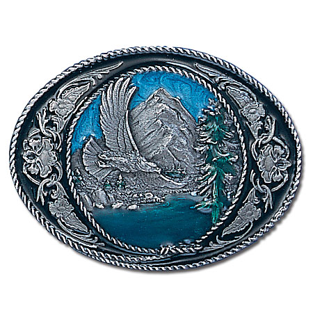 Belt Buckle - Eagle/Western Scroll - This finely sculpted and hand enameled belt buckle contains exceptional 3D detailing. Siskiyou's unique buckle designs often become collector's items and are unequaled with the best craftsmanship.