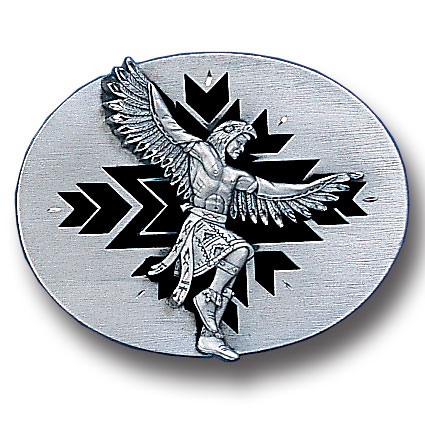 Belt Buckle - Indian Dancer (Diamond Cut) - This finely sculpted belt buckle contains exceptional 3D detailing and diamond cut accents. Siskiyou's unique buckle designs often become collector's items and are unequaled with the best craftsmanship.