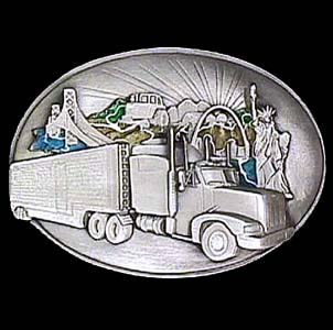 Belt Buckle - Long Haul Trucker - This finely sculpted and hand enameled belt buckle contains exceptional 3D detailing. Siskiyou's unique buckle designs often become collector's items and are unequaled with the best craftsmanship.