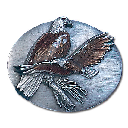 Belt Buckle - Two Eagles - This finely sculpted and hand enameled belt buckle contains exceptional 3D detailing. Siskiyou's unique buckle designs often become collector's items and are unequaled with the best craftsmanship.