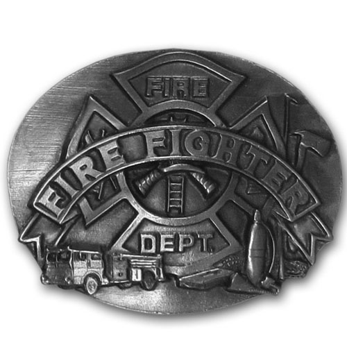 Firefighter Buckle - Finely sculpted and intricately designed belt buckle. Our unique designs often become collector's items.