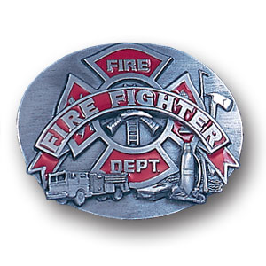 Belt Buckle - Fire Fighter Oval - This finely sculpted and hand enameled belt buckle contains exceptional 3D detailing. Siskiyou's unique buckle designs often become collector's items and are unequaled with the best craftsmanship.