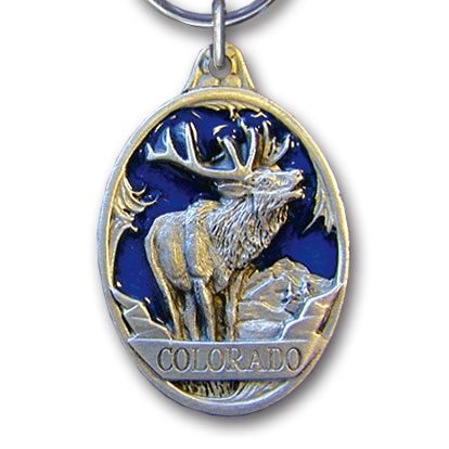 Key Ring - Colorado Elk - This collector's key ring is finely detailed and features a Colorado Eagle emblem.
