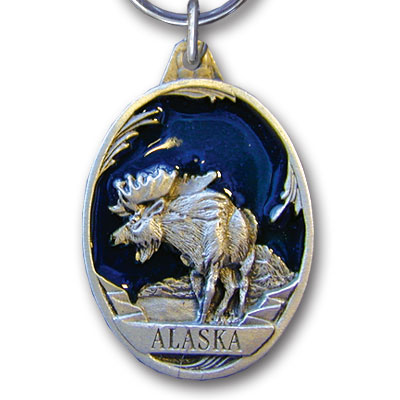 Key Ring - Alaska Moose - This collector's key ring is finely detailed and features a Colorado Wolf emblem.