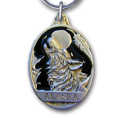 Key Ring - Alaska Wolf - This collector's key ring is finely detailed and features a New Jersey emblem.