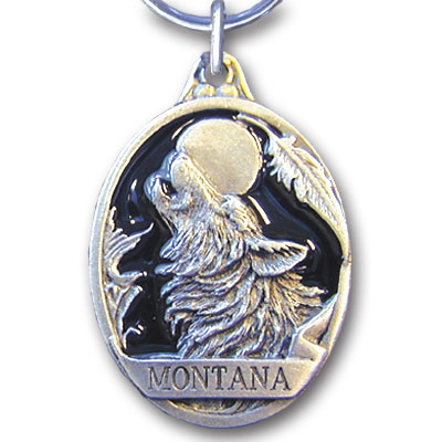 Key Ring - Montana Wolf - This collector's key ring is finely detailed and features a New Mexico emblem.