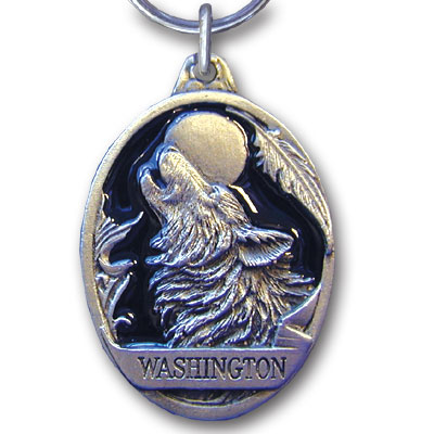 Key Ring - Washington Wolf - This collector's key ring is finely detailed and features a Oregon Eagle emblem.